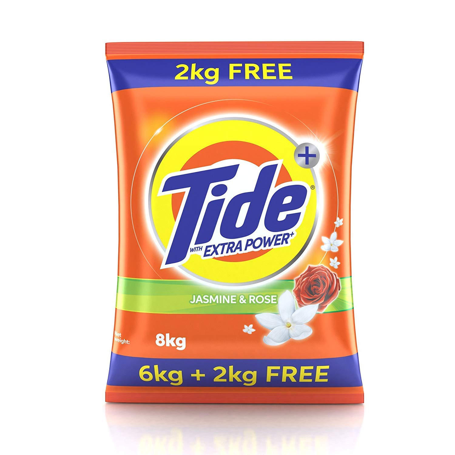 Tide Plus Detergent Washing Powder with Extra Power Jasmine and Rose Pack – 6 kg with Free 2 kg Pack