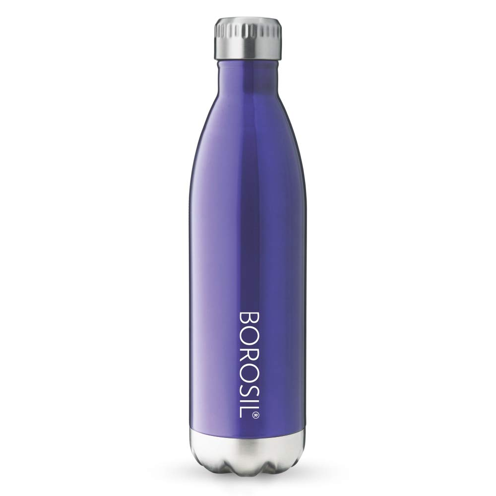 Borosil Stainless Steel Hydra Bolt Trans – Vacuum Insulated Flask Water bottle, Blue, 1L