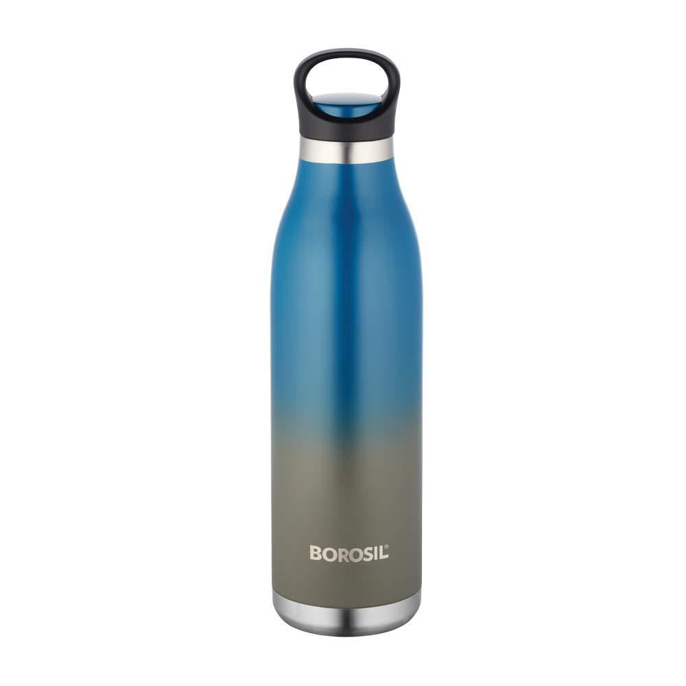 Borosil Stainless Steel Hydra ColourCrush – Vaccum Insulated Flask Water Bottle, 700 ML, Blue