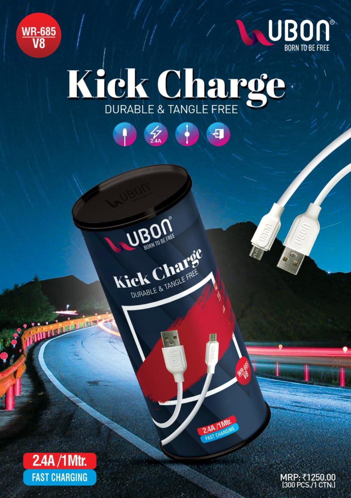 Wr-685 Â 2.4A USB cable  Fast Charging & Data transfer