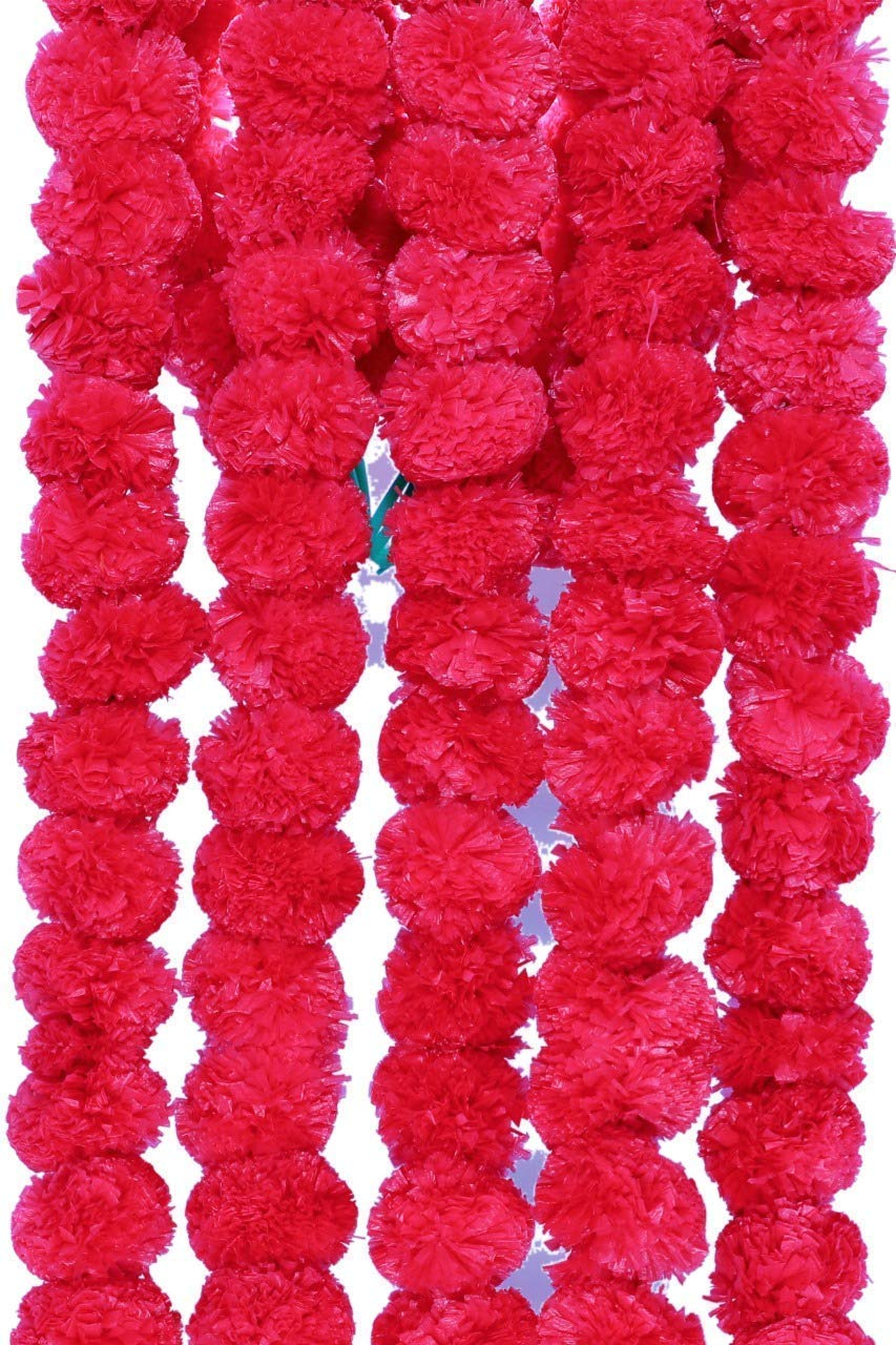 Artificial Genda Red Color Phool Mala (Set of 5 String) Marigold Flowers Garland for Decoration for Diwali, Housewarming, Christmas, Wall hangings (10 ft Per Strings)