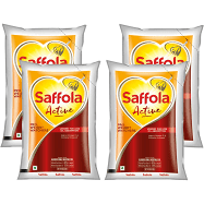 bb Combo Saffola Active Blended Oil 1 ltr Pouch + bb Royal Basmati Rice – Premium 1 kg, Combo 2 Items